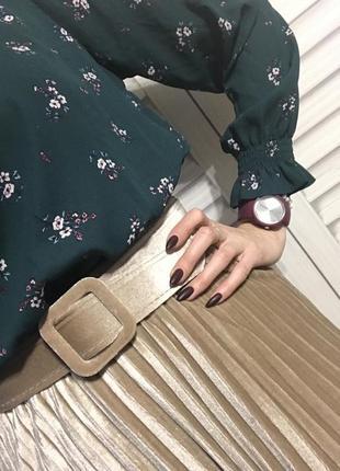 Бархатная юбка плиссе с поясом7 фото