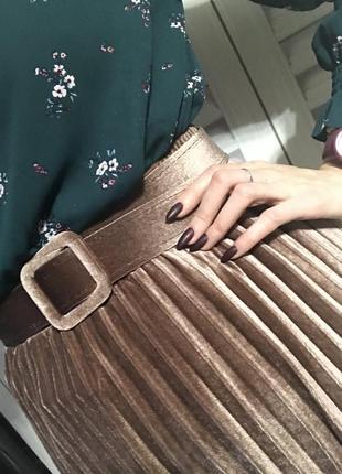 Бархатная юбка плиссе с поясом8 фото