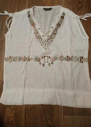 Белая блузка майка