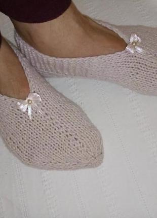 Тапочки, носки, следки шерстяные. hand made.