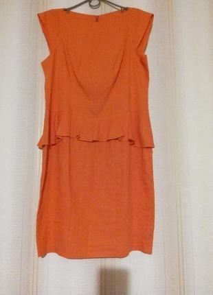 Льняное платье с баской 73fccca00a320
