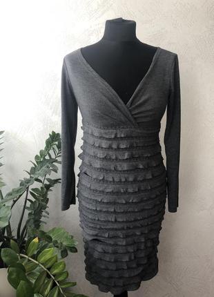 Теплое красивое серое платье с длинным рукавом с-м