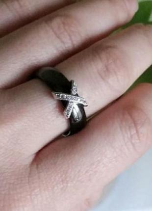 Кольцо колечко черное керамика керамическое
