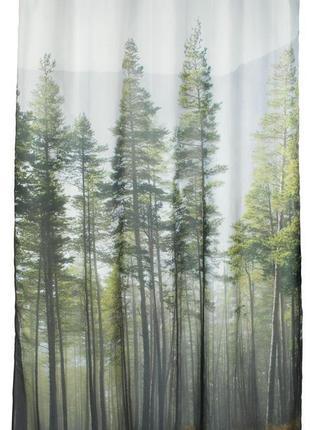 Шторки , штора , занавеска у ванную, для душа, природа , лес