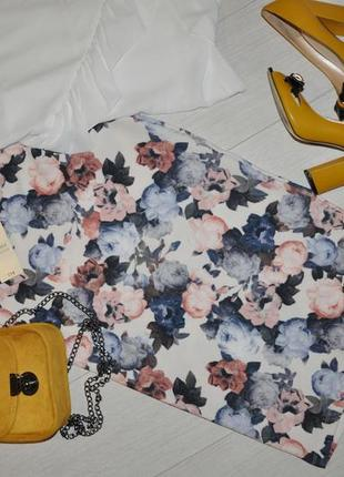 Фирменная юбка , цветочный принт