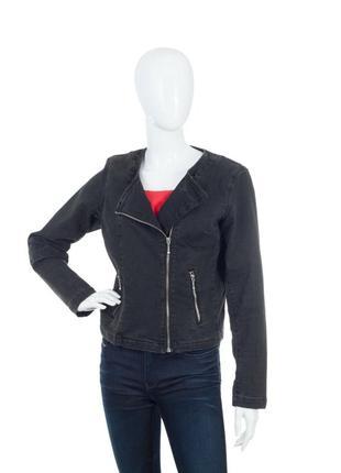 Женская джинсовая тёмная куртка levis размер л косуха