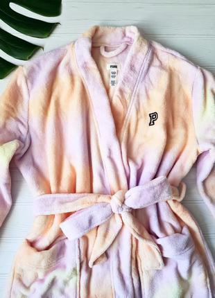 Короткий плюшевый халатик victoria's secret pink ! размер m/l 13631