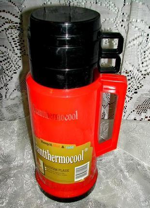 Термос 1 литр с 2 чашками \стекляная колба\
