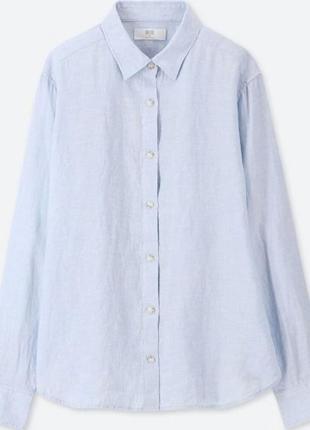 Голубая классическая льняная рубашка uniqlo