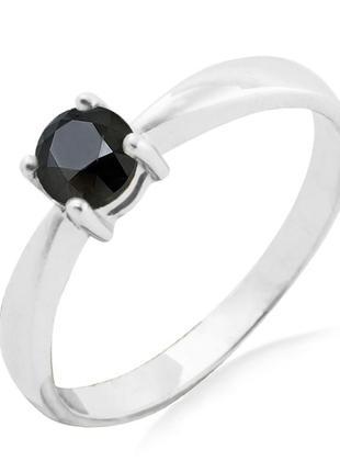 Золотое кольцо с черным бриллиантом 0,50 карат 16,5 мм. белое золото. новые