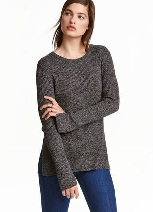 Серый меланжевый свитер джемпер лонгслив в рубчик l oversize оверсайз с разрезами