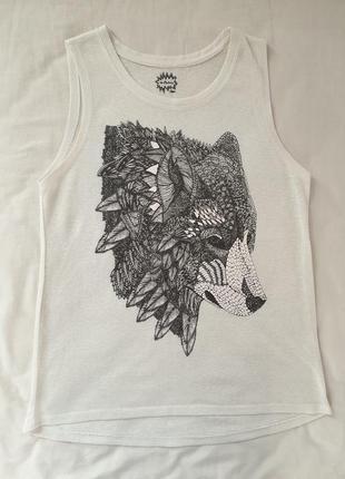 Майка белая волк удлинённая