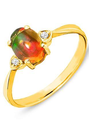 Золотое кольцо с огненным опалом и бриллиантами 0,03 карат 17 мм. желтое золото. новое