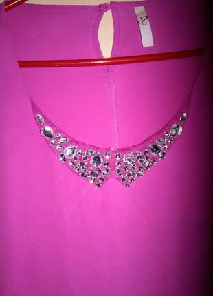 Нарядная,многослойная блуза,расшитый камнями воротник,большого evr 56 размера