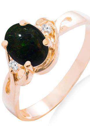 Золотое кольцо с черным опалом и бриллиантами 0,03 карат 17 мм. желтое золото. новое