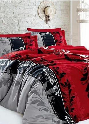 Хлопковое постельное белье рандеву красно-серое в подарочной упаковке