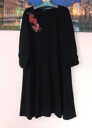 Натуральное платье с вышивкой