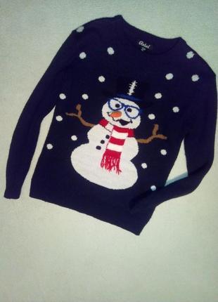 Новогодний свитерок со снеговиком на мальчика 140/152 см рост