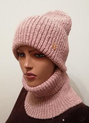 Мягенький тёплый комплект шапка и бафф