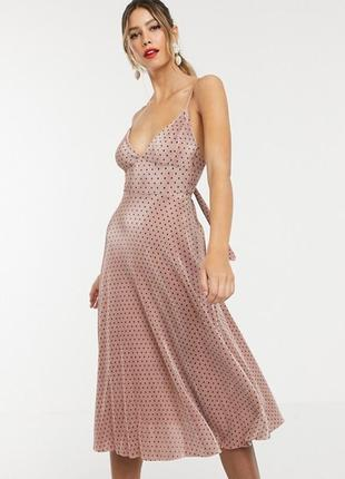 Роскошное платье в горошек, плиссе, плиссировка, нюдовое, asos, в горох, плиссированное,
