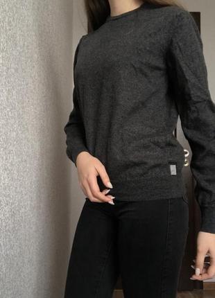 Светр свитер armani джемпер шерстяний шерстяной сірий серий базовий базовый