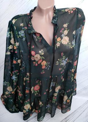 Шикарная прозрачная блуза в цветы от george