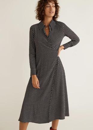 Сукня платье mango манго на запах миди міді рубашка сорочка zara