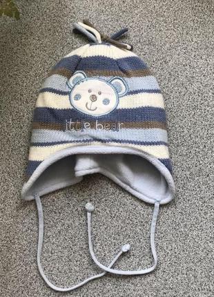 Шапочка демісезонна на хлопчика 6-12 міс 44-46 см, шапка деми на завязках на мальчика