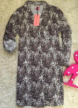 Леопардовое платье в пижамном стиле рубашка
