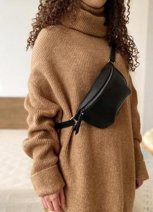 Базовая поясная сумка бананка черная через плечо клатч на пояс