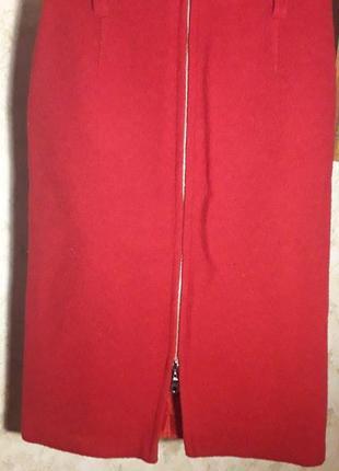 Красная юбка карандаш на молнии,шерсть.