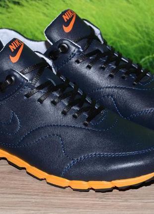 Кроссовки синие кожаные м27с качество nike размеры 36 37 38 39