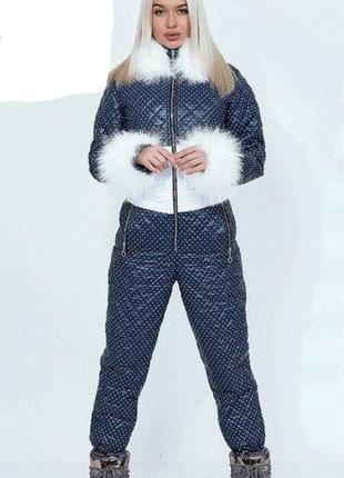 Стильный зимний лыжный/для прогулок комбинезон в горох с мехом