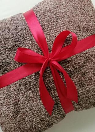 Плед-покрывало двухцветное, качественное и мягкое, 220*240 см, бордово-коричневое