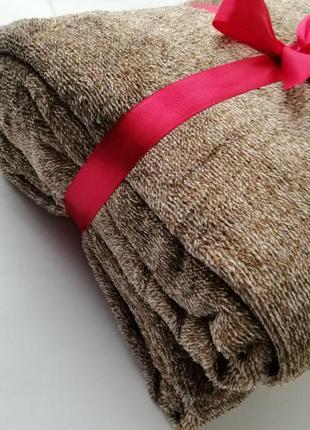 Плед-покрывало двухцветное, качественное и мягкое, 220*240 см, оранжево-коричневое