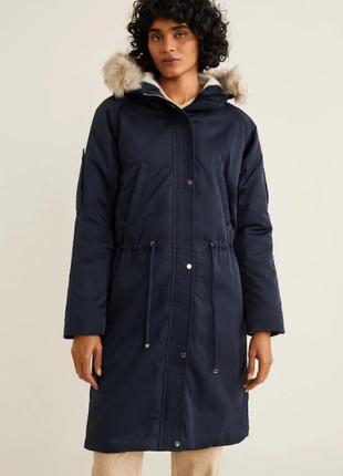 Стильная удлиненная демисезонная куртка парка mango испания l