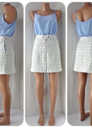 Стильная жаккардовая юбка next с узором. размер uk 12.