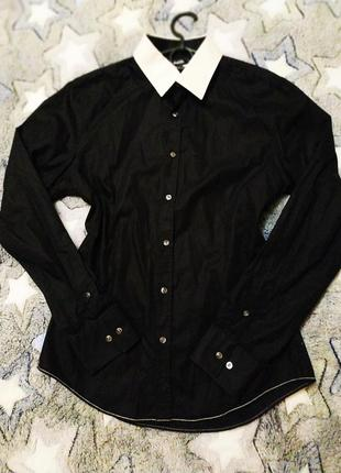 #розвантажуюсь крутая черная рубашка с белым воротником, р.м