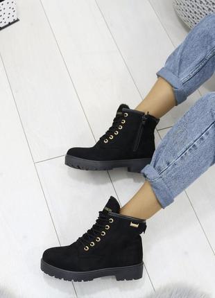 Sale женские зимние ботинки сапоги черные эко замшевые на низком ходу на змейке