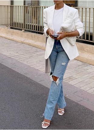 Hennes & mauritz белый пиджак удлиненный смокинг