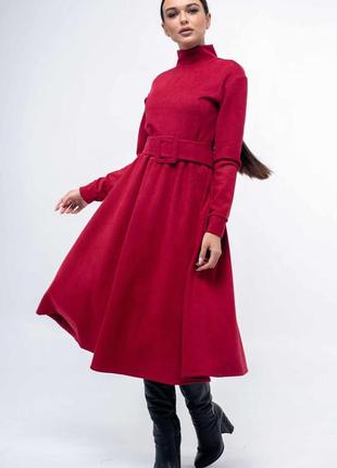 Платье замшевое расклешенное premium цвет малина тренд 2020
