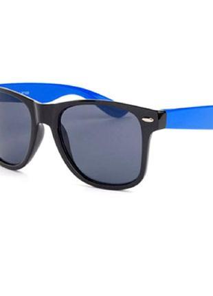 Распродажа солнцезащитные сине-черные очки-вайфареры с черной дымчатой линзой