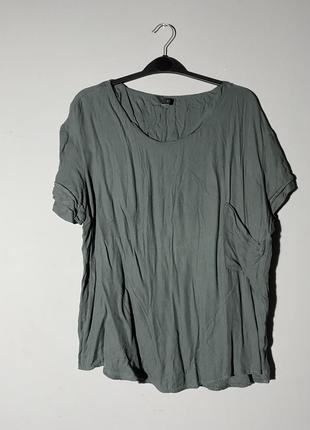Очень мягкая футболка натуральная с кармашком зелёная хаки