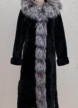 Шикарная мутоновая шуба с чернобуркой, размер с, хс