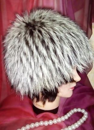 100 %  мех чернобурки вязаная шапка/шапка/берет/вязаная шапка/меховая шапка