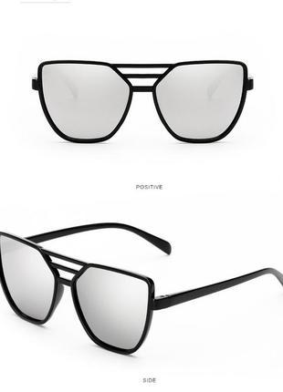 Распродажа солнцезащитные черные очки-бабочки с тройной переносицей и серебряным зеркалом