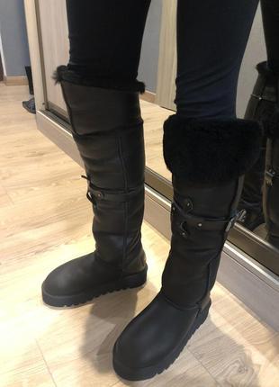 Ugg кожаные высокие угги ботфорты на толстой подошве