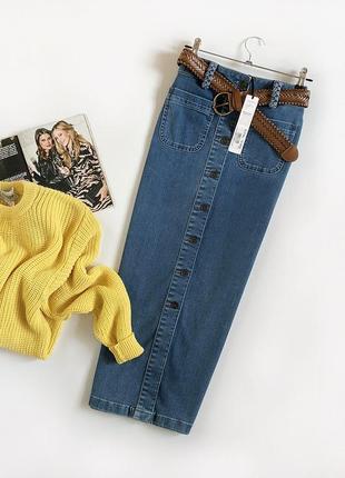 Нереальная джинсовая юбка миди с поясом tu (denim)