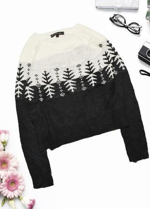 Оврсайз свитер с узором и размерами по бокам redberry