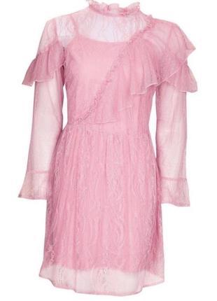 Нежное розовое платье двойка3 фото